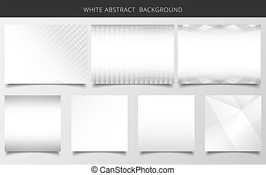 Set of geometric pattern white and gray background texture.