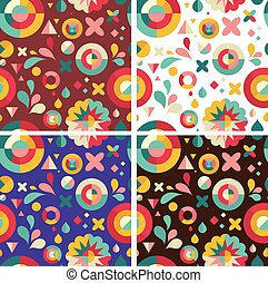 Set of geometric patterns ans backgrounds