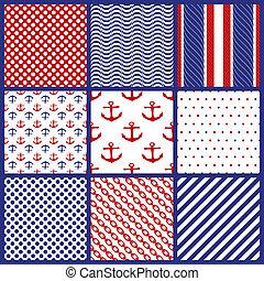 Set of Geometric Patterns in Marine Style