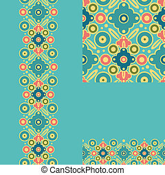 Set of geometric seamless pattern and borders backgrounds