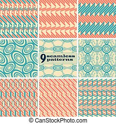 Set of abstract geometric seamless patterns in vintage colors. Retro style design