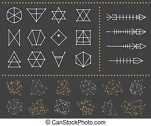 Set of geometric shapes and arrows