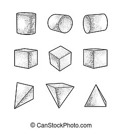 Set of geometric shapes cylinder cube and pyramid sketch engraving vector illustration. T-shirt apparel print design. Scratch board imitation. Black and white hand drawn image.