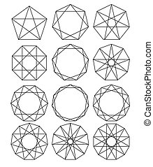 Set of geometric shapes. Sacred Geometry. lines crossing the polygon inscribed in a circle. White lines on a black background. Outline Mandala frames. Crystal form. Vector illustrations