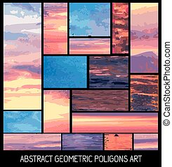 Set of geometrical abstract colrful backgrounds