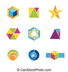 Set of geometrical logos - Vector set of geometrical...