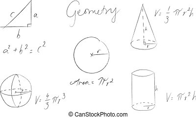 Set of geometry equations hand drawn