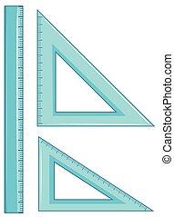 Set of geometry ruler