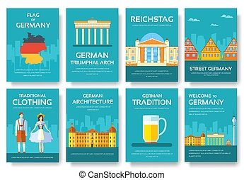 Set of Germany country ornament travel tour concept....