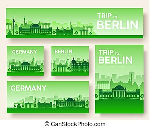 Set of Germany landscape country ornament travel tour...