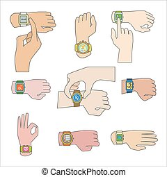 Set of gestures for watch.