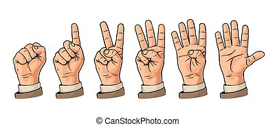 Set of gestures of hands counting from zero to five. Male Hand sign.