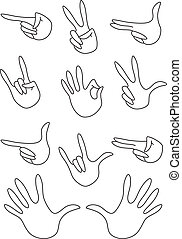 set of gestures outlined
