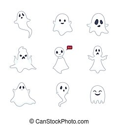 Set of ghost illustrations