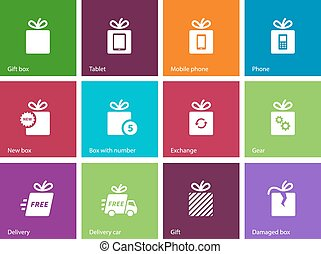 Set of gift box icons.