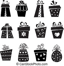 Set of gift box icons