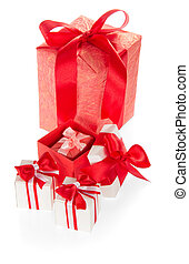 Set of gift boxes decorated with colorful ribbons and bows