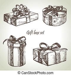 Set of gift boxes. Hand drawn illustration