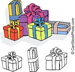 Set of gift boxes.