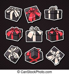 Set Of Gift Boxes Icon With Bow And Ribbon On Black Background