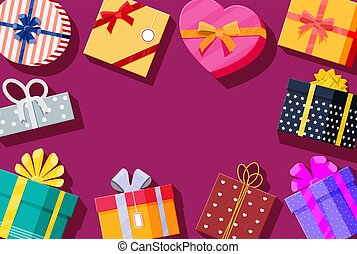 Set of gift boxes on red background.