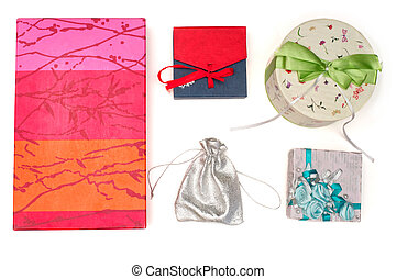 Set of gift boxes over white