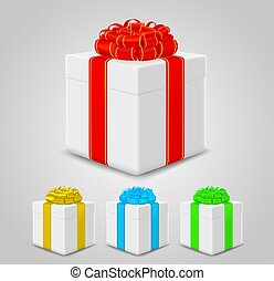 set of gift boxes with colorful ribbons