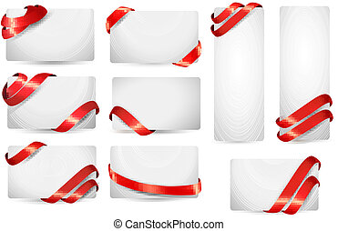Set of gift card notes with red ribbons. Vector illustration.