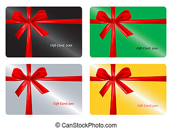 Set of gift card with red ribbon.