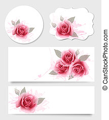 Set of gift cards and banners with beautiful flowers. Vector.