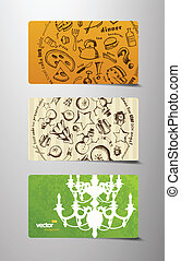 Set of gift cards.