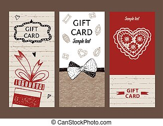 Set of gift cards, hand-drawn. Templates gift certificate to...