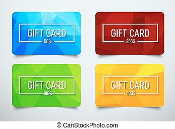set of gift cards with a polygonal abstract background