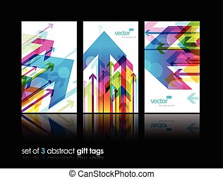 Set of gift cards with arrows.