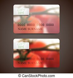 Set of gift cards with blurred background of red tomatoes, vector design