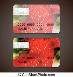 Set of gift cards with blurred background of ripe strawberries, vector design