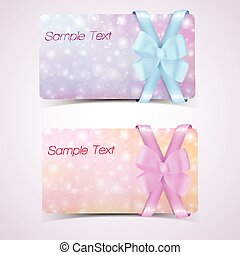 Set of gift cards with bow.