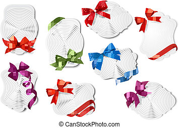 Set of gift cards with colorful gift bows with ribbons. Vector illustration.