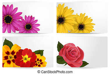 Set of gift cards with different colorful flower. Vector