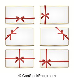 Set of gift cards with ribbons.