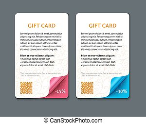 Set of gift cards with rolled corners