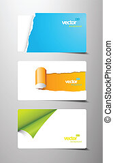 Set of gift cards with rolled teared corners.
