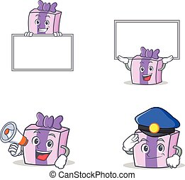 Set of gift character with board police megaphone