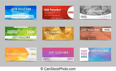 Set of gift polygonal vouchers.