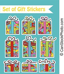 Set of gift stickers