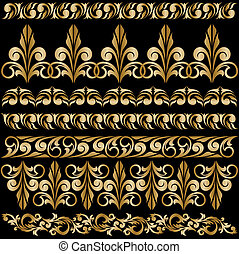 set of gilt ornaments - set of elegant gilt borders for...