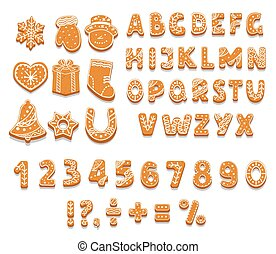 Set of gingerbread cookies alphabet, numbers, holiday treat, sweet pastries of different shapes, punctuation marks, vector illustration.