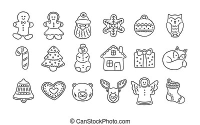Set of gingerbread cookies for Christmas in doodle style.