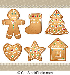 set of gingerbread, elements for christmas design, vector