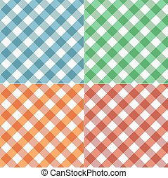 Set of Gingham seamless pattern